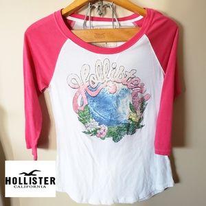 Hollister 3/4 sleeve Tshirt Vintage wave print.